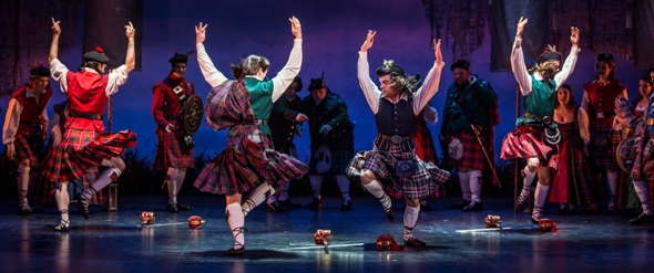 Clan dancers Malachi Squires (Ensemble), Rhett Guter (Harry Beaton), William Angulo (Ensemble) and Jamy Meek (Ensemble) in Goodman Theatre's 'Brigadoon.' (Liz Lauren)